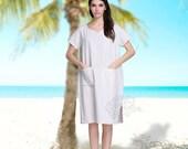 Anysize V-necked linen & cotton dress  sides slit loose dress plus size dress plus size clothing summer clothing  summer dress Y46
