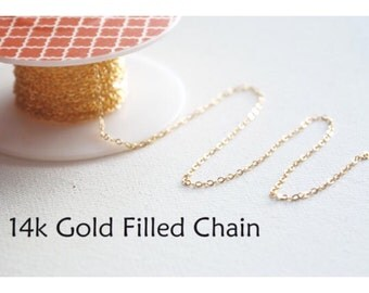 14k Gold Filled Chain, Gold Flat Cable Chain, 1.3mm width Chain, Finished gold filled Chain, Pay by the foot of Gold Filled Chain
