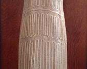 1990's Does 1920's Opulent Nude Lace Silk Dress Flapper Illusion Trapeze Dress