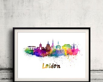 Leiden skyline in watercolor over white background with name of city - SKU 2272