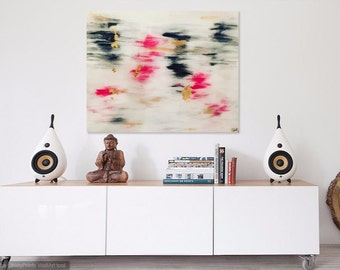 Pink White Acrylic and Gold Leaf Abstract Painting with High Gloss Resin 24x30