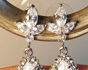 """Bridal Cubic Zirconia Tear Drop Earrings 1.25"""""""