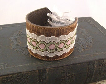 Leather Cuffs, Leather Bracelets, Gifts for Her, Leather and Lace Bracelet