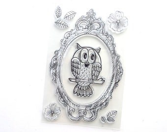 Set of 8 clear stamps, Owl, picture frame, flowers..