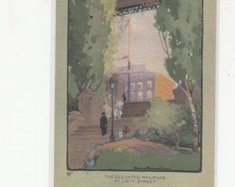 Volland Publishers-C1919-20-A/S Rachael Elmer-110th Elevated Railroad-Postcard-Manhattan NY-Art Lovers Series