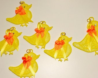Machine lace Embroidered Ornaments Mama & Chicks