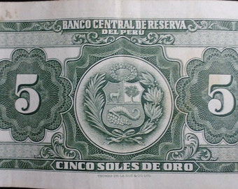 Vintage Antique 1968 Almost Uncirculated Banco Central de Reserva del Perú 5 Cinco Soles De Oro Banknote Currency