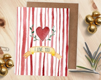 Love Card | Heart & Red Stripes | I Love You