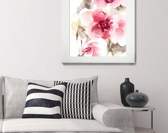 Pink Florals Art Print, Watercolor Print, Watercolor Painting, Abstract Painting, Home Decor