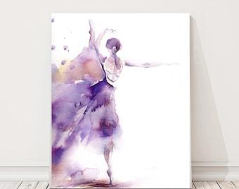 Ballerina Fine Art Print, Watercolor Painting Print, Ballet Painting, Ballerina in Purple, Modern Wall Art, Dance Art