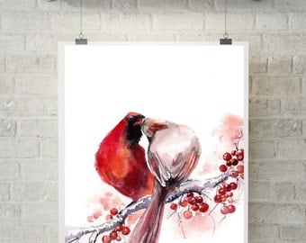 The Kiss - Cardinal Birds Art Print, Watercolor Painting of Birds, Love Painting, Red Wall Art