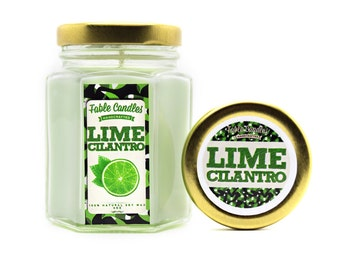 Lime Cilantro Scented Soy Candle | Handmade Scented Candle -- 4oz