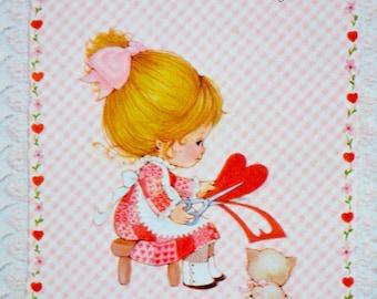 Vintage Greeting Card - Secret Pal Valentine Girl and Cat - Unused Hallmark