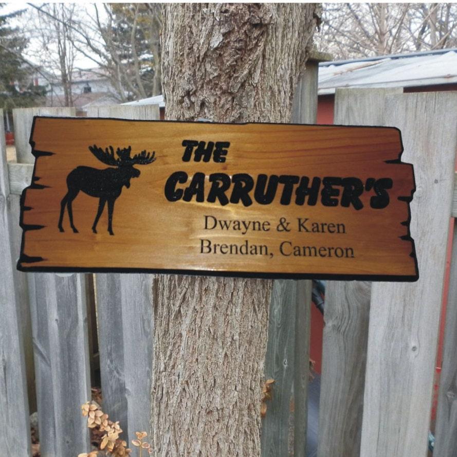 Moose version of custom wooden sign wood cabin sign wooden for Cabin signs wood