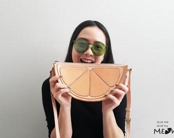 Ready To Ship / Lemon Cross Body Bag / Lemon Veg Tan Leather Spring Purse / Beach Bag / Hand Stitched Shoulder Bag / Handmade Women's Bag