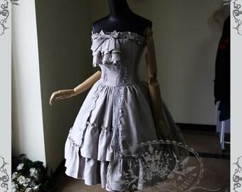 Elegant Gothic Lolita Retro Sudette Steel Boned Corset Bodice Strapless Dress & Cravat