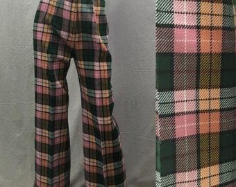 High Waisted Flared Pants, Pink Plaid, Vintage 70s Cuffed Slacks Womens Small