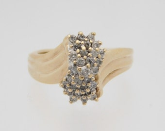0.50 Carat Total Weight Round Cut Diamond Cluster Ring 10K Yellow Gold