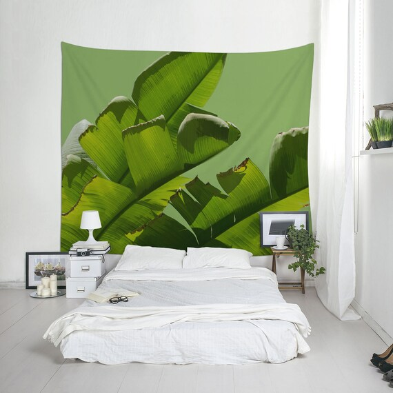 Banana Wall Art, Tropical Tapestries, Banana Leaf Tapestry, Green Wall Decor, Wall Hangings, Banana Tree Art, Home Gifts