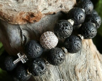 Lava Rock Beaded Stretch Bracelet Duo with Micro Pave Bead & Pave Cross Bead  *FREE SHIPPING*