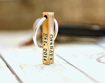 Men's Personalized Keychain; Keychain for dad; 4 sided brass keychain; Gift for Men; Gift for Dad; Gift for Man