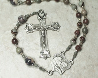 Woman's Catholic Pewter Rosary;  Porcelain Jasper Gemstone Rosary; Catholic Gifts