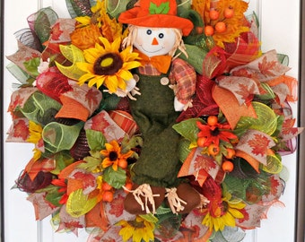 Boy Scarecrow Wreath.  Fall Wreath.  Country Wreath.