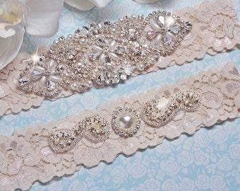 Wedding  Garter, Stretch Lace Garter, Crystal Rhinestone Garter, Bridal Garter Belt,  Garter Set, Keepsake Garter, Toss Garter, Style-105
