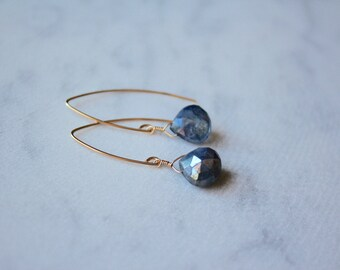 Blue Labradorite Stone Teardrop Gold Filled Marquise Earrings