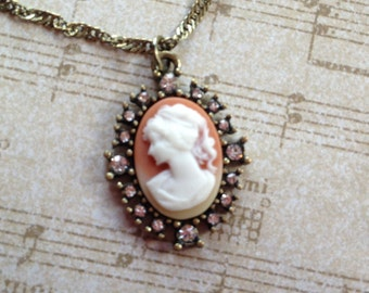Rhinestone Cameo Pendant, Cameo, Pendant Necklace, Gift For Her