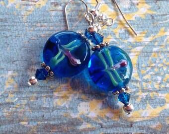 Lampwork Beaded Earrings, Lampwork Earrings, Blue Earrings, Gift For Her, Dangle Earrings, Glass Earrings
