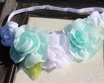 Mint flower crown mint flower wreath aqua flower crown aqua flower wreath mint wedding aqua wedding flower girl crown flower girl wreath