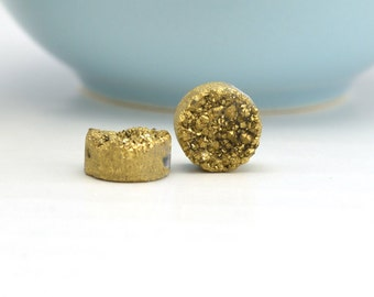 Gold Druzy Beads| Gold Druzy Quartz | 10mm Gold Druzy Bead | Drilled Druzy Beads | REAL Druzy Quartz