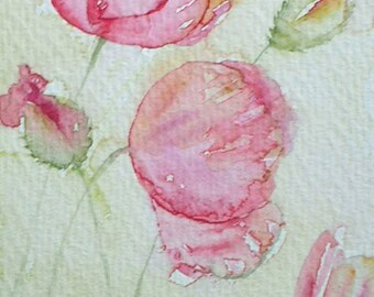 ART Watercolour painting of PINK POPPIES by Amanda Hawkins 9 x14cm decorative original art floral artwork cottage pink garden flowers