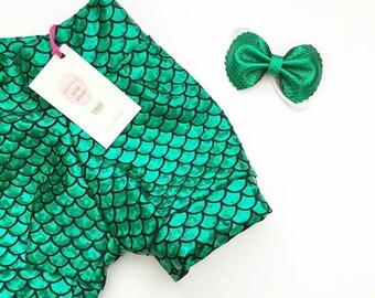 Little Mermaid Birthday Outfit - Green Mermaid Shorts - Toddler Shorts - Girls Booty Shorts - Cosplay Pants