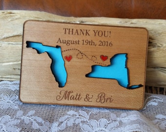 Thank you cards Rustic thank you cards personalized state thank you cards wooden thank you cards magnet thank you cards engraved thank you