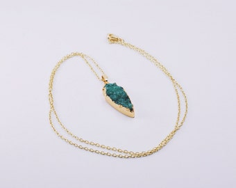 CLEARANCE! - Green Agate Arrow Necklace