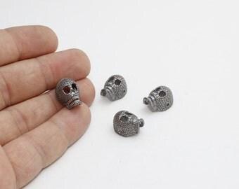 1 Pcs Gunmetal Skull Beads, Bracelet Slide Charms , Skull Beads, Gunmetal Charms , 11x15mm , KDR68