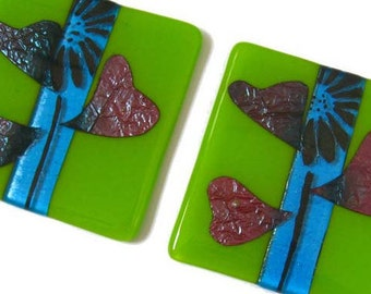 fresh green fused glass coaster, 1 X drinks mat, tile, with real copper metal, blue glass home decor, friend summer gift, hostess, new home