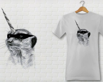 SURICATE mask Tee shirt adjusted Cup, male or female.