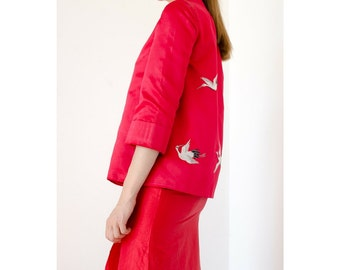 flight of the Cranes vintage embroidered silk jacket