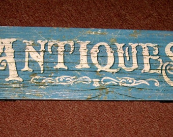 "Wooden ANTIQUE SIGN ready to hang 17"" X 6"" with hardware on the back"