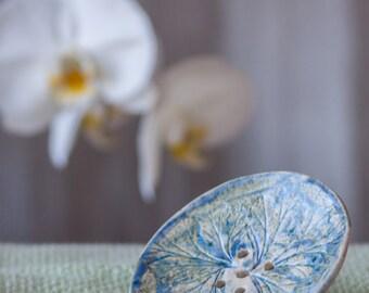 Ceramic soap dish with botanical ornament, clay soap dish, bathroom accessory