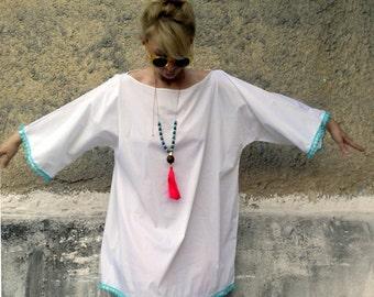 Summer Pom Pom Tunic-summer dress-womens summer dress-tunic dress-pom pom dress