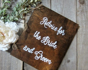 Wedding advice book, wood advice book, wood guest book, wedding guest book, advice for bride and groom, letters for the bride, wedding book