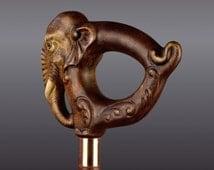 Wood Walking Stick Cane Elephant Hand Carved Handmade Unique Vintage Gift