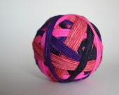 """Dyed to Order: """"Tonks (4 color self-striping)"""" - Hot Pink, Bright Purple, Dark Blue, Cotton Candy Pink Stripes"""