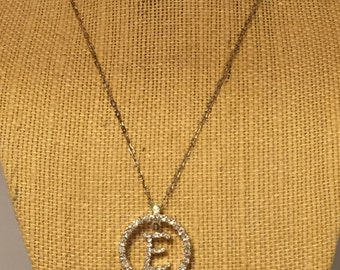 "Vintage Rhinestone Initial ""E"" Circle Pendant. Signed LC. Designer Liz Claiborne. Personalized Monogram Jewelry. Gifts Under Fifteen"
