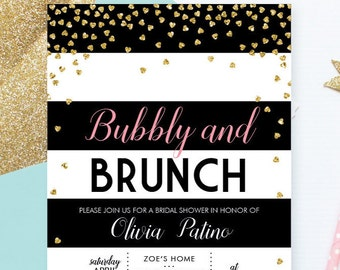 Bubbly and Brunch Bridal Shower Invitation Printable . Black and White Bridal Shower Invitation . Instant Download . Modern Bridal Shower