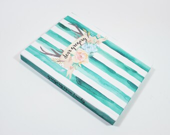 dear baby journal - personalized baby book, stripe watercolor antler baby memory book